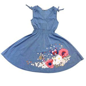 H&M Chambray Painted Floral Print Dress